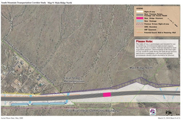 South Mountain Transportation Corridor Study, Map 9 Main Ridge N